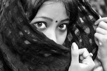 black, eyes, girl