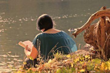 girl, autumn, lake