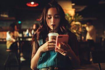 woman, coffee, phone